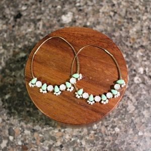Long Hoop Earrings - turquoise and white jewels